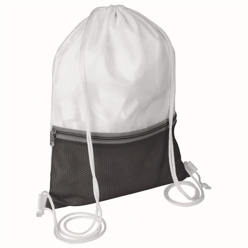 sacca in poliestere bianco e nero con tasca e zip