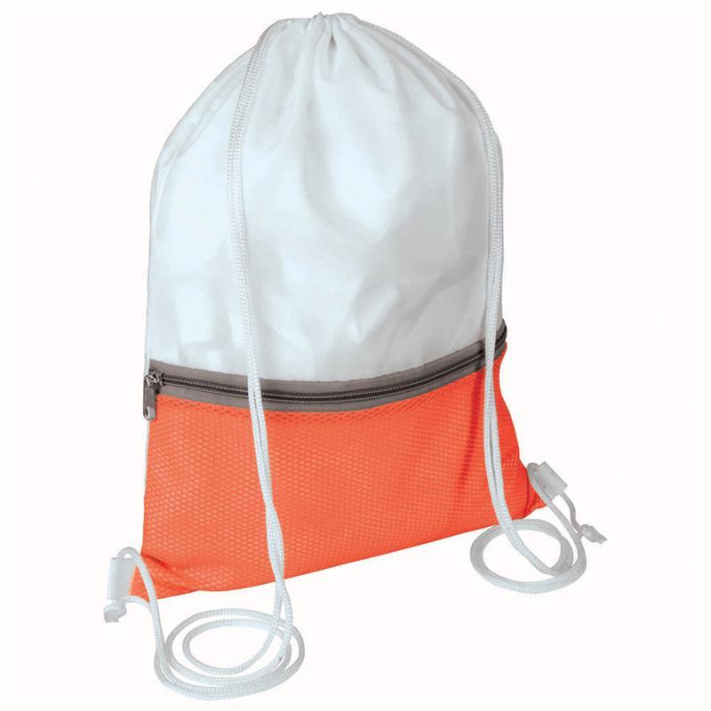 sacca in poliestere bianco e rosso con tasca e zip