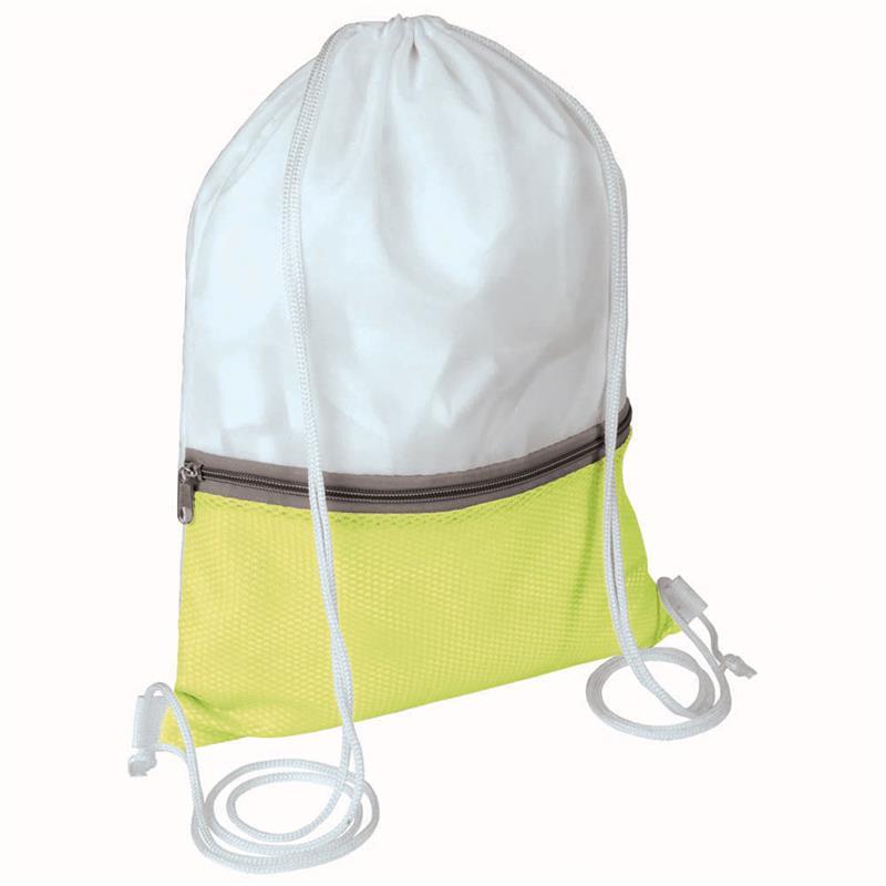 sacca in poliestere bianco e giallo con tasca e zip