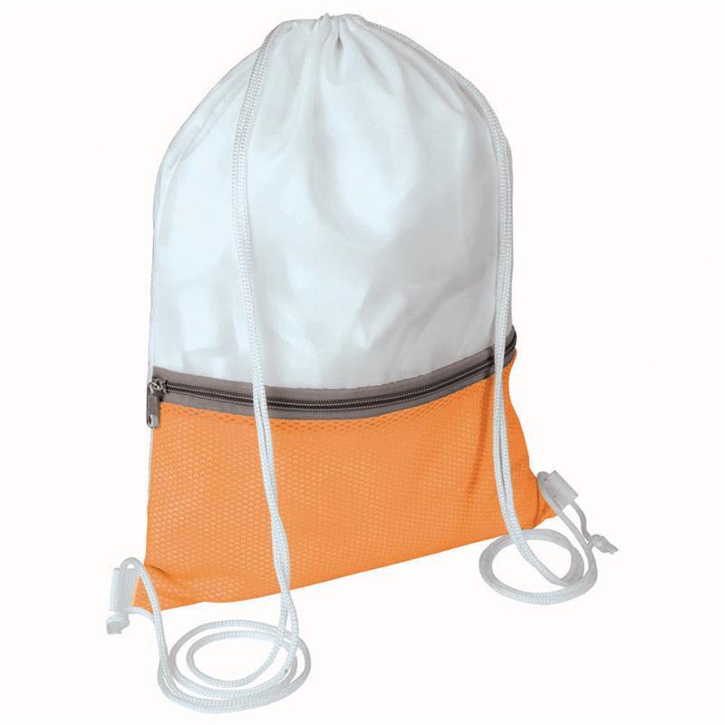 sacca in poliestere bianco e arancio con tasca e zip
