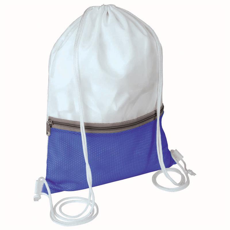 sacca in poliestere bianco e blu royal con tasca e zip