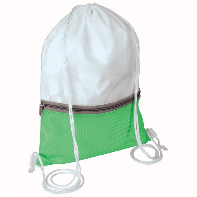 sacca in poliestere bianco e verde mela con tasca e zip