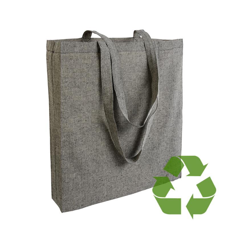 shopper in cotone riciclato nero effetto melange con soffietti