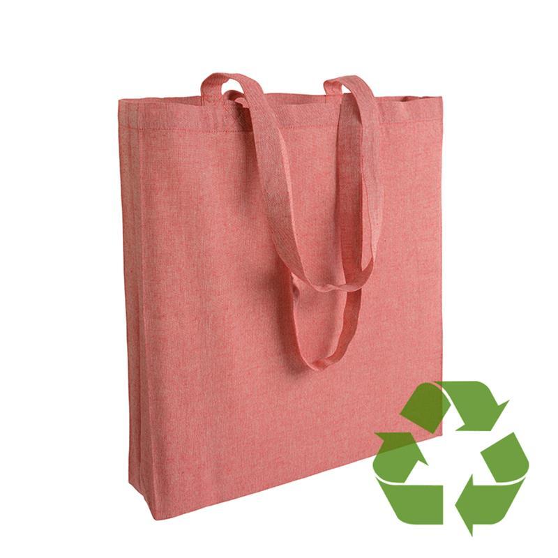 shopper in cotone riciclato rosso effetto melange con soffietti