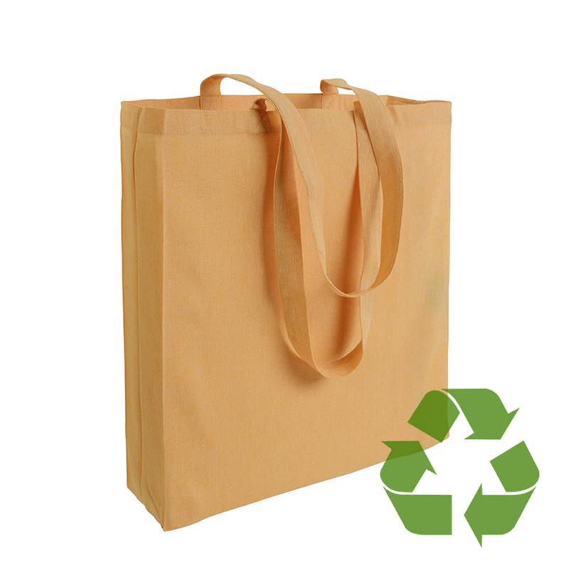 shopper in cotone riciclato giallo effetto melange con soffietti