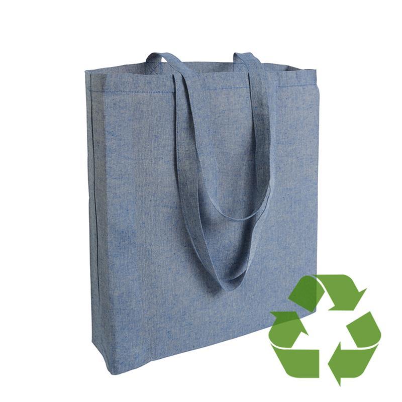 shopper in cotone riciclato blu royal effetto melange con soffietti