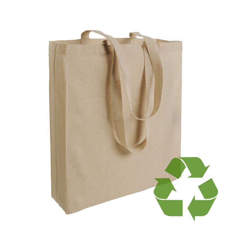 shopper in cotone riciclato naturale effetto melange con soffietti