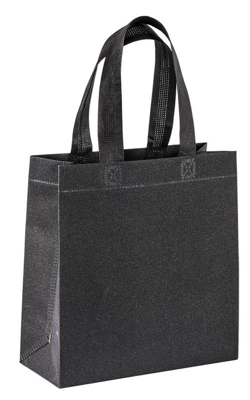 shopper in tnt laminato glitterato nero con manici tnt termosaldati