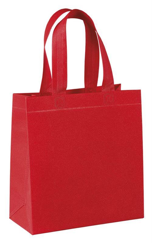 shopper in tnt laminato glitterato rosso con manici tnt termosaldati