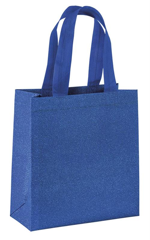 shopper in tnt laminato glitterato blue con manici tnt termosaldati