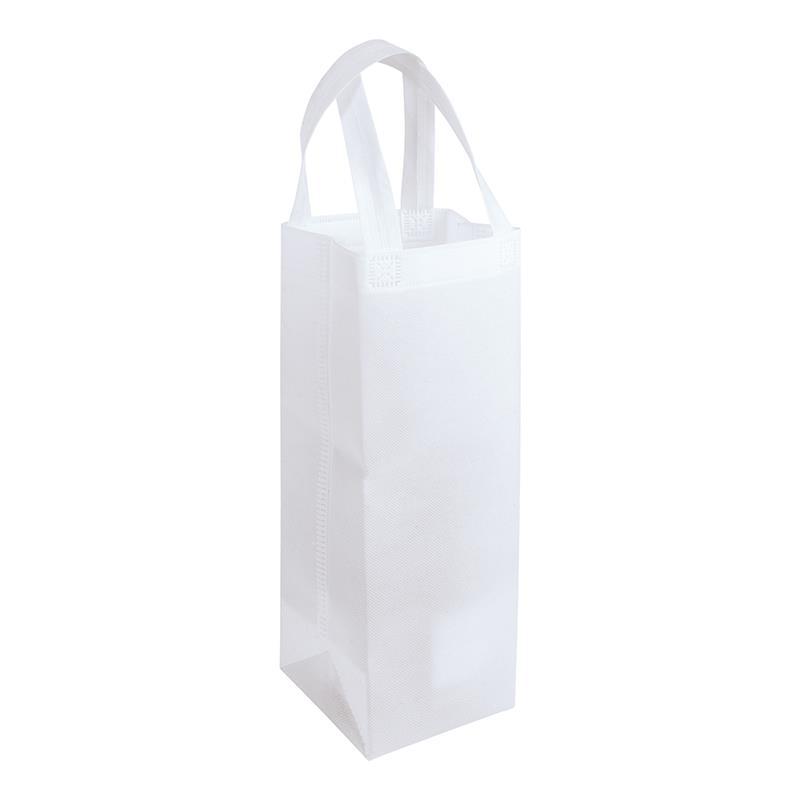 shopper per vino in tnt bianco con soffietti laterali e manici tnt