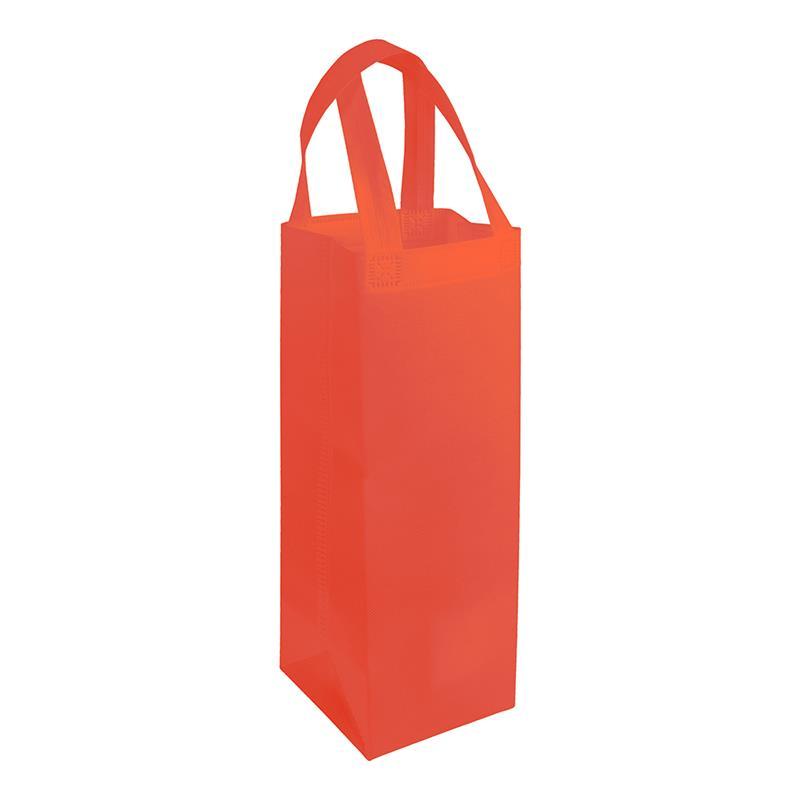 shopper per vino in tnt rosso con soffietti laterali e manici tnt