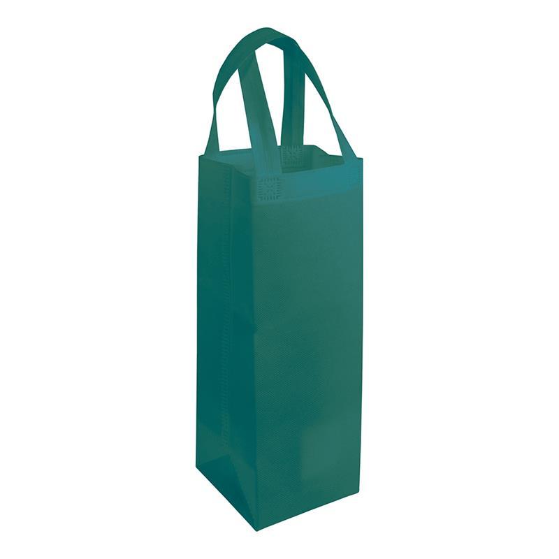 shopper per vino in tnt verde con soffietti laterali e manici tnt