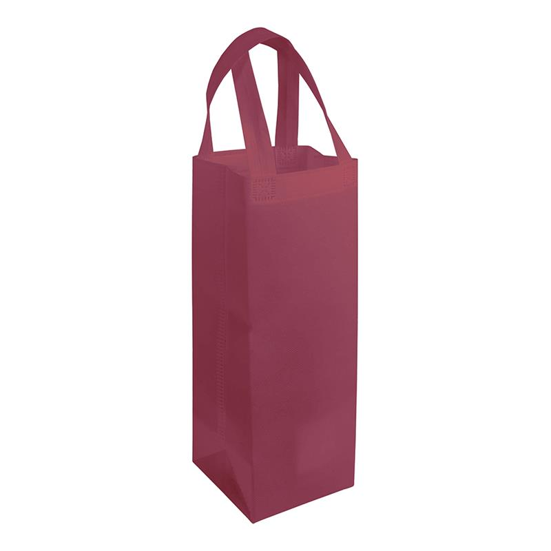 shopper per vino in tnt bordeaux con soffietti laterali e manici tnt