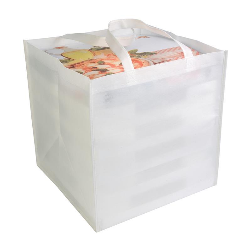 shopper tnt bianco in formato cartone da pizza con manici tnt