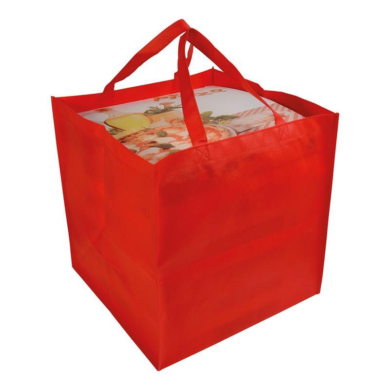 shopper tnt rosso in formato cartone da pizza con manici tnt