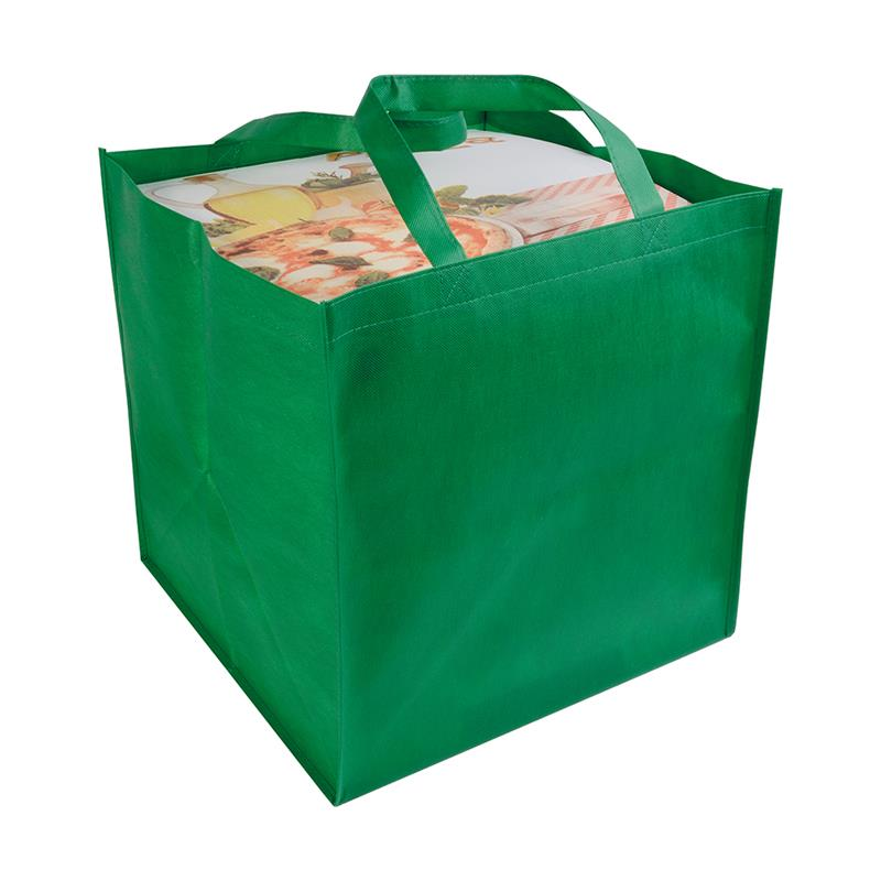 shopper tnt verde in formato cartone da pizza con manici tnt