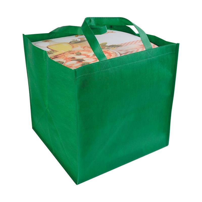 shopper tnt verde in formato cartone da pizza con manici tnt