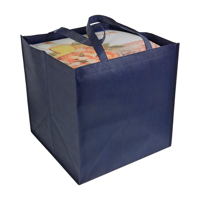 shopper tnt blu navy in formato cartone da pizza con manici tnt