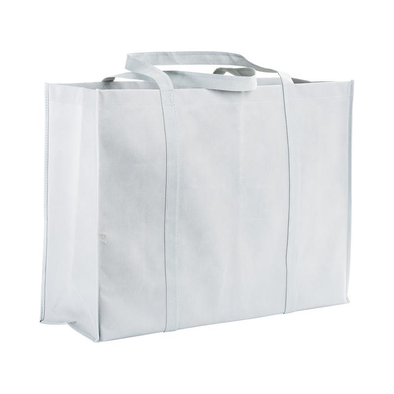 shopper maxi in tnt bianco con soffietti e manici tnt