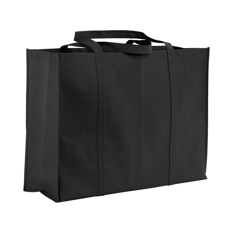 shopper maxi in tnt nero con soffietti e manici tnt