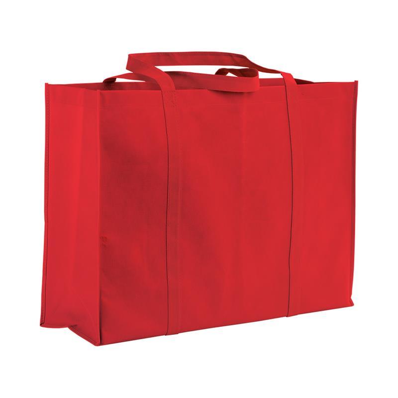 shopper maxi in tnt rosso con soffietti e manici tnt