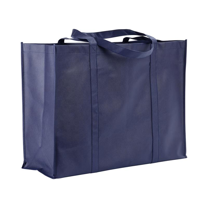 shopper maxi in tnt blu navy con soffietti e manici tnt