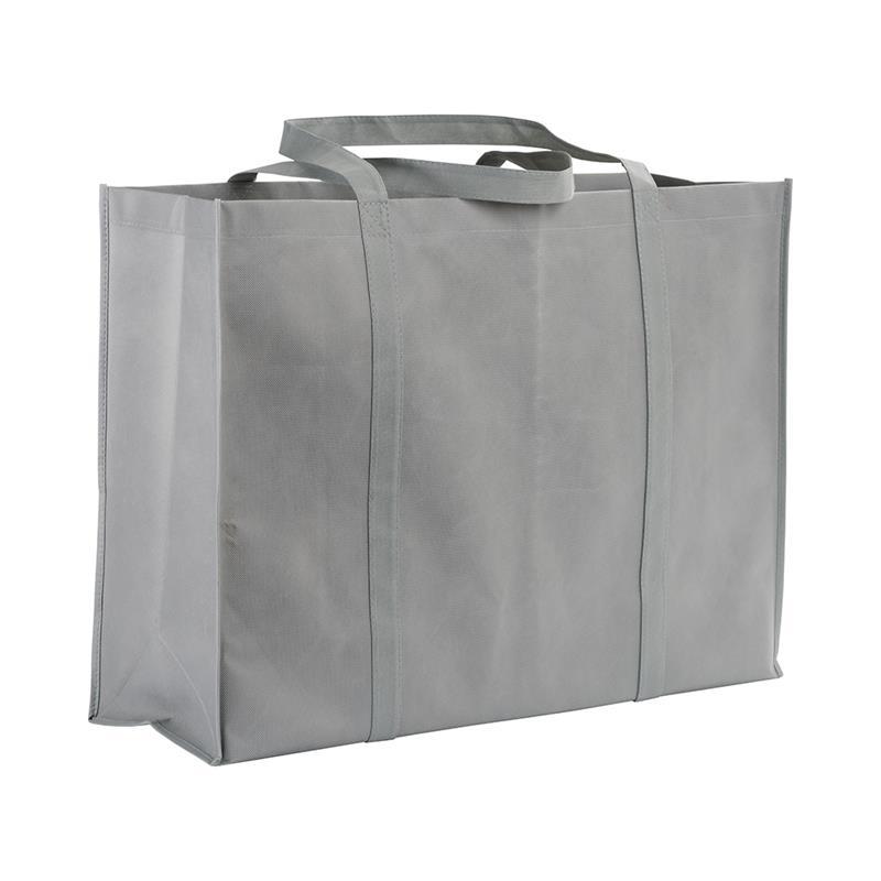 shopper maxi in tnt grigio con soffietti e manici tnt