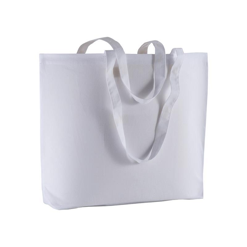 shopper in cotone bianco con soffietto alla base e manici cotone