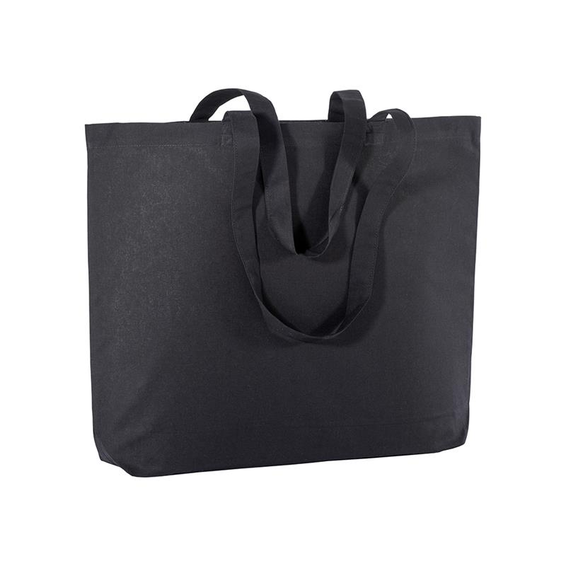 shopper in cotone nero con soffietto alla base e manici cotone