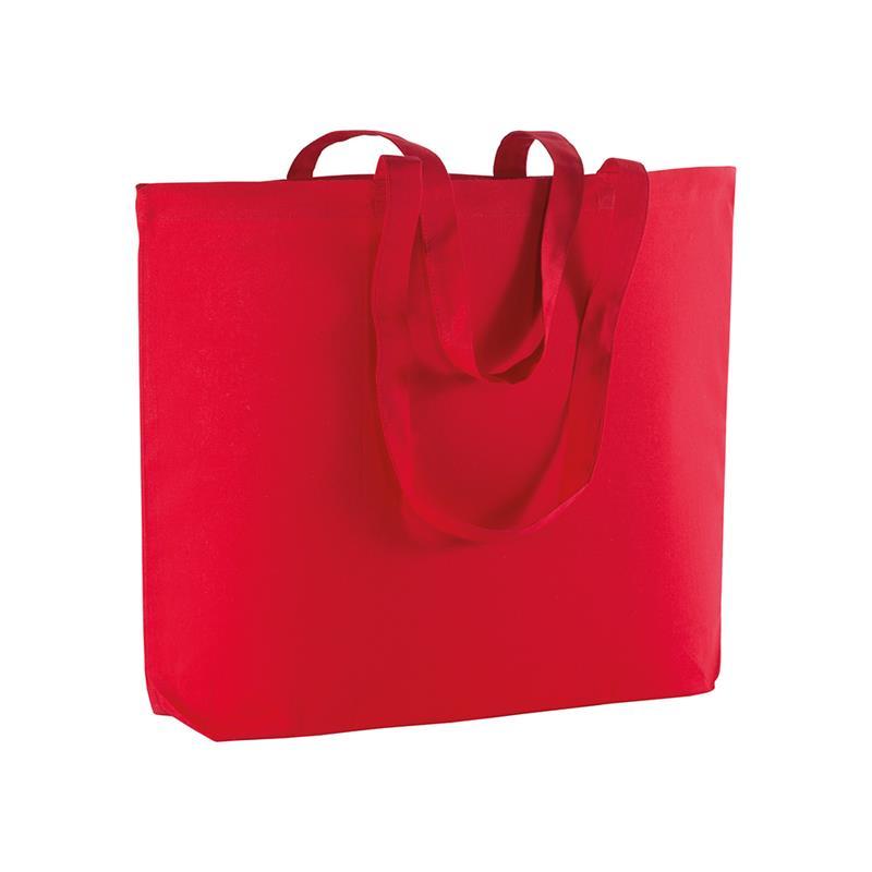 shopper in cotone rosso con soffietto alla base e manici cotone