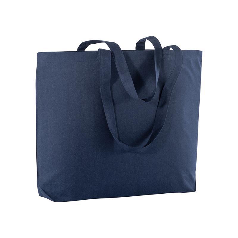 shopper in cotone blu navy con soffietto alla base e manici cotone