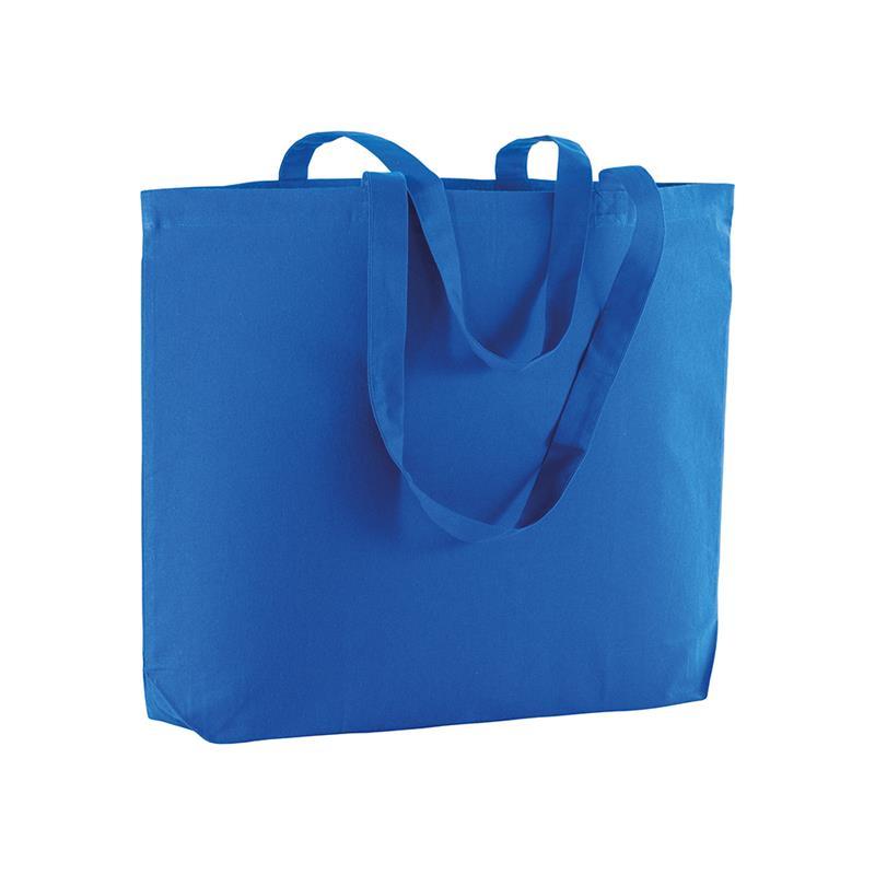 shopper in cotone blu royal con soffietto alla base e manici cotone