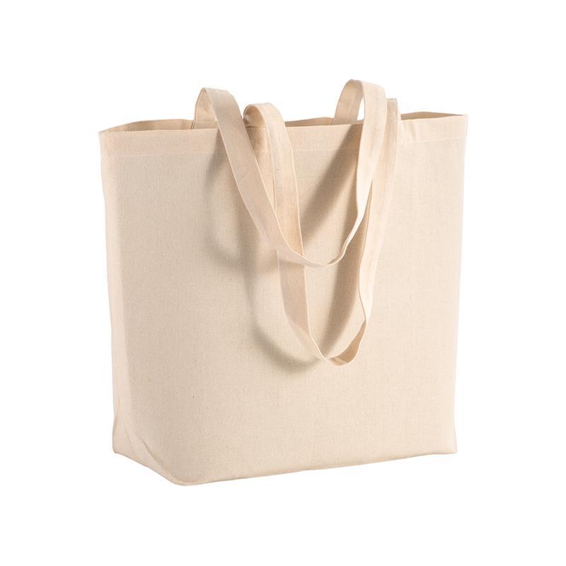 shopper in cotone naturale con soffietto alla base e manici cotone