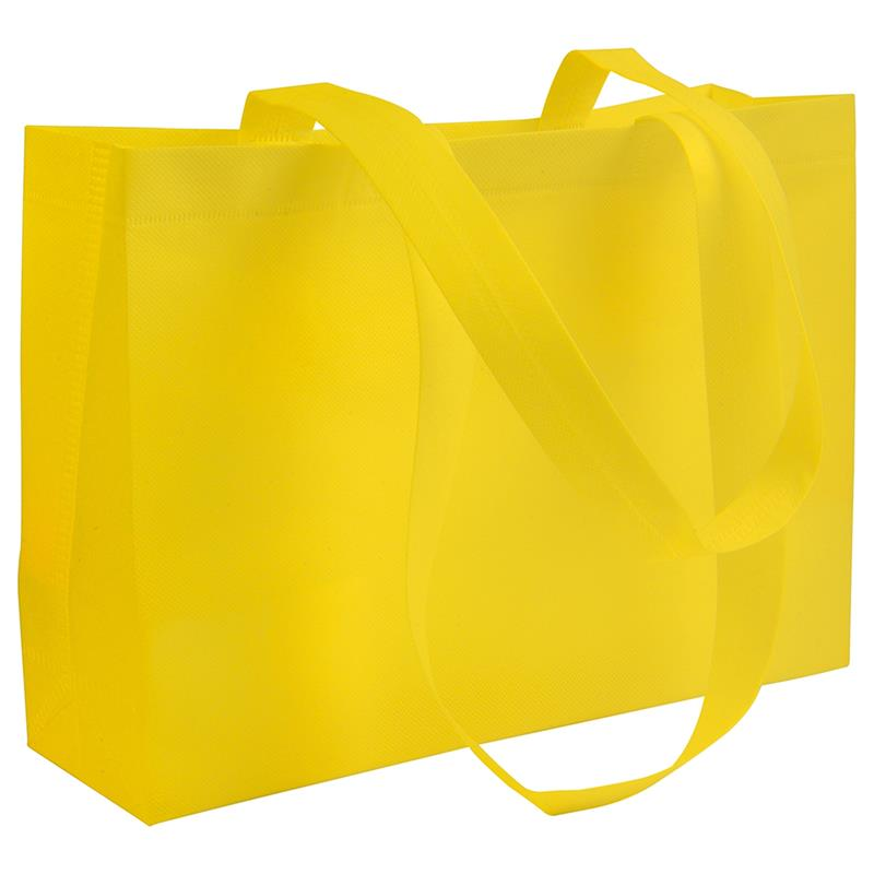 shopper in tnt giallo con soffietti manici tnt termosaldati
