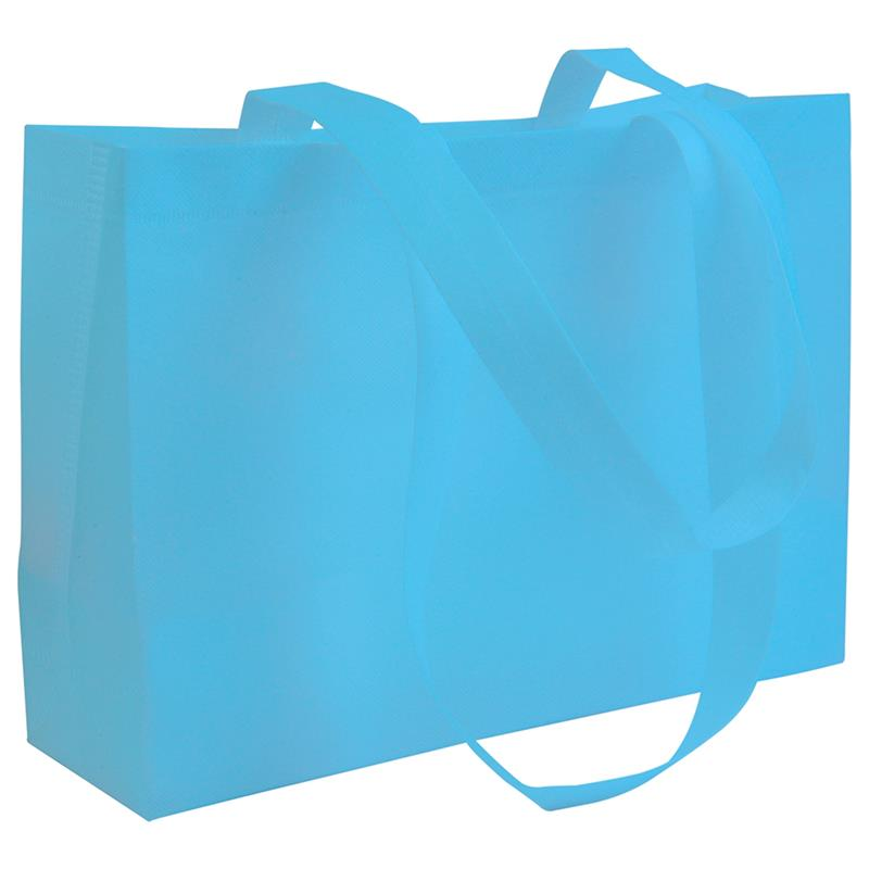 shopper in tnt celeste con soffietti manici tnt termosaldati