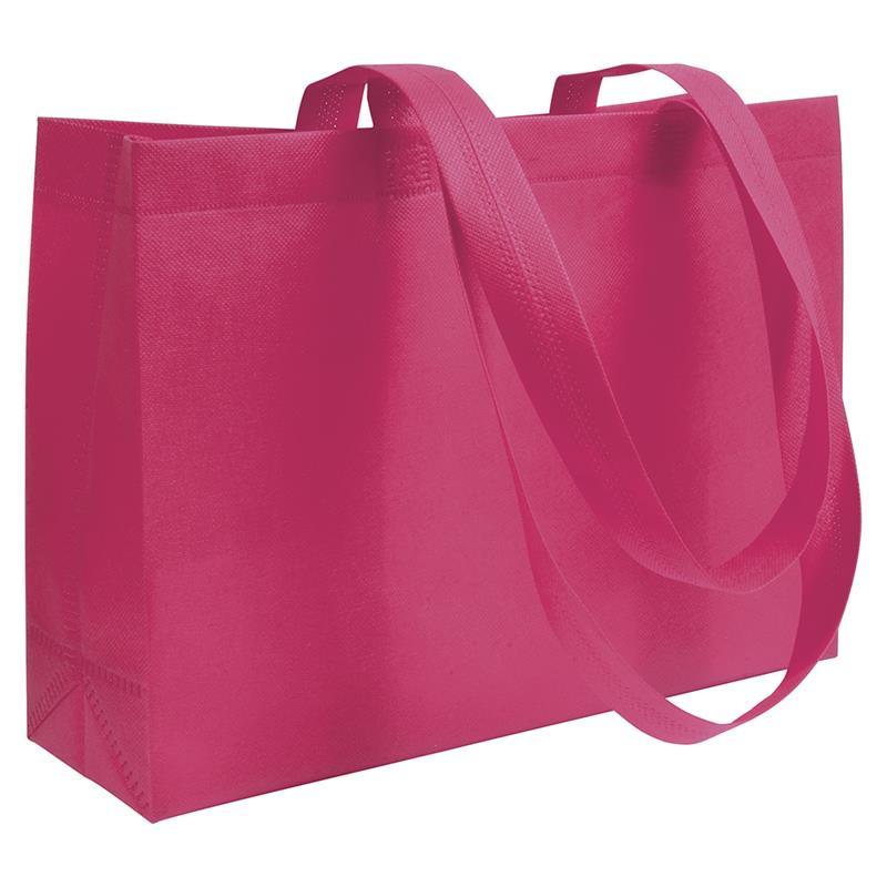 shopper in tnt fuxia con soffietti manici tnt termosaldati