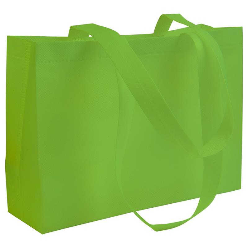 shopper in tnt verde mela con soffietti manici tnt termosaldati