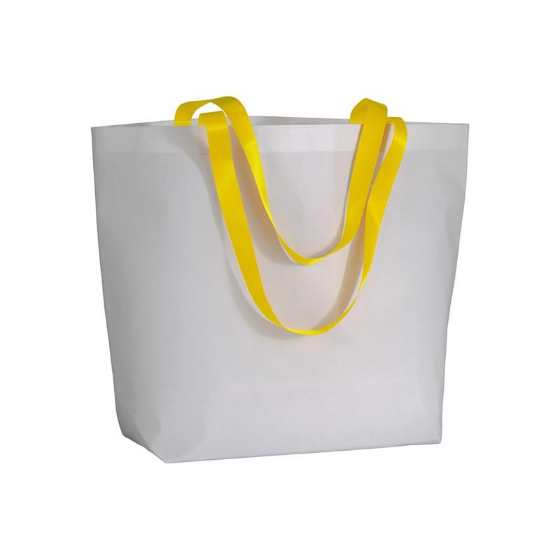 shopper in tnt laminato bianco manici giallo fluo soffietto alla base