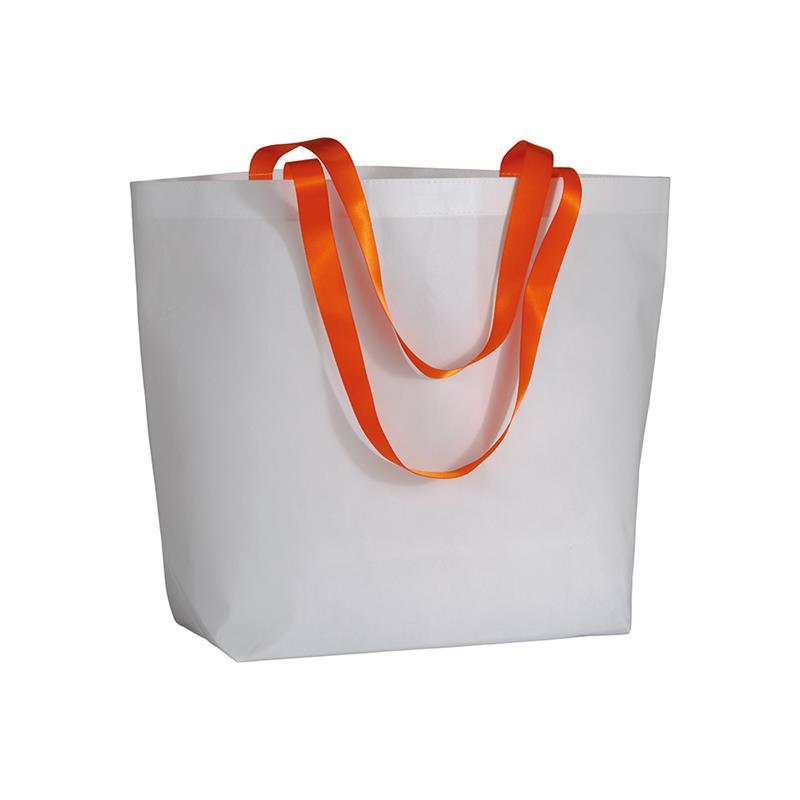 shopper in tnt laminato bianco manici arancio fluo soffietto alla base