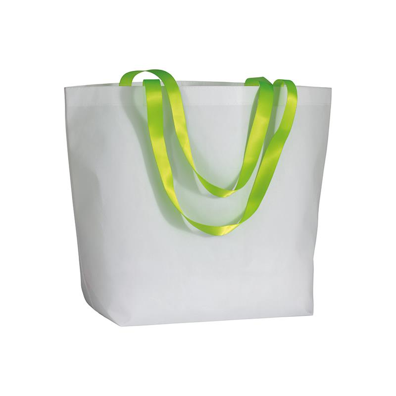 shopper in tnt laminato bianco manici verde fluo soffietto alla base