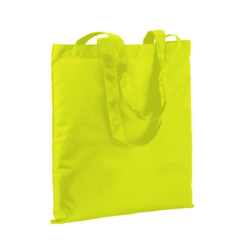 shopper in poliestere giallo fluo senza soffietti e manici lunghi