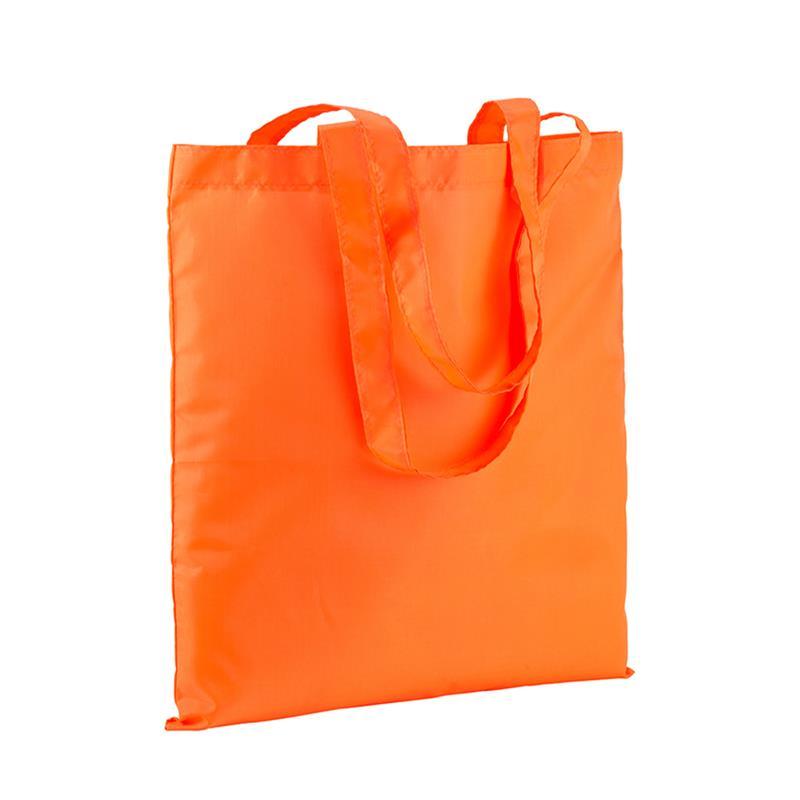 shopper in poliestere arancio fluo senza soffietti e manici lunghi
