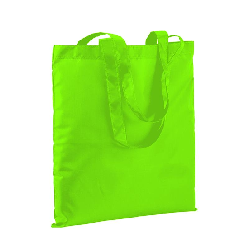 shopper in poliestere verde fluo senza soffietti e manici lunghi