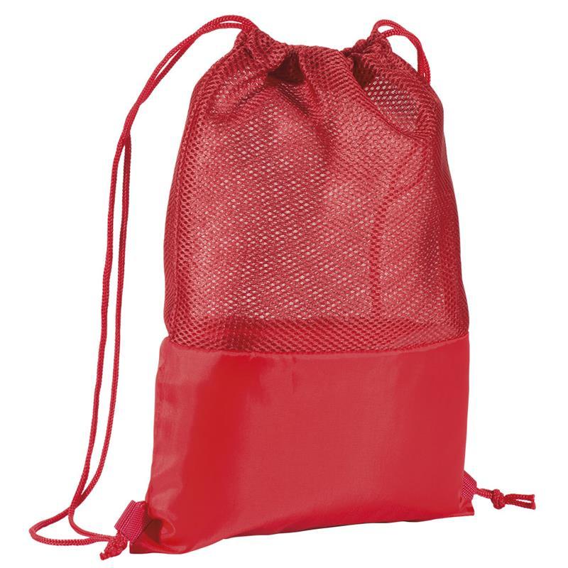 sacca in poliestere rosso con retina mesh