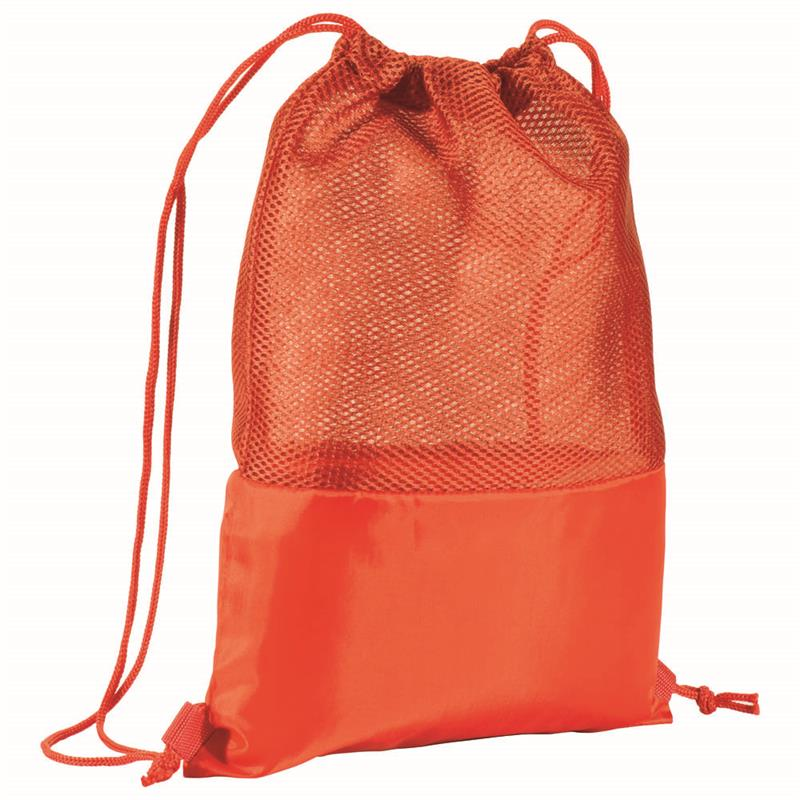 sacca in poliestere arancio con retina mesh