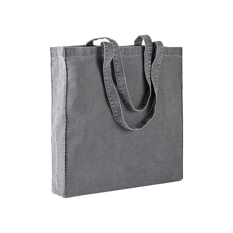 shopper in stonewashed nero con soffietti e manici cotone