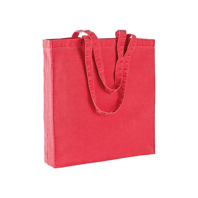 shopper in stonewashed rosso con soffietti e manici cotone