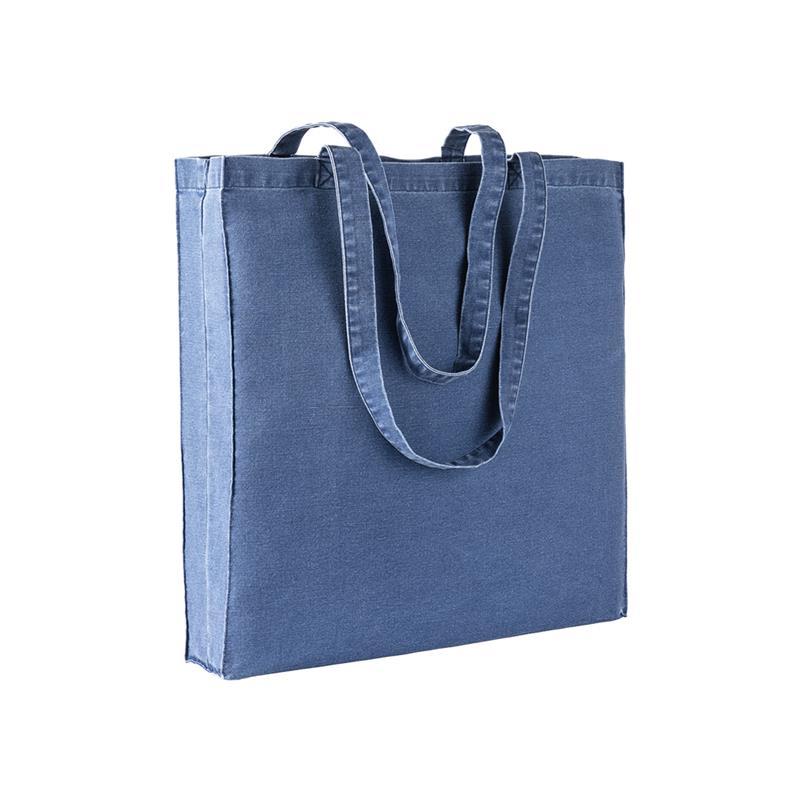 shopper in stonewashed blu scuro con soffietti e manici cotone
