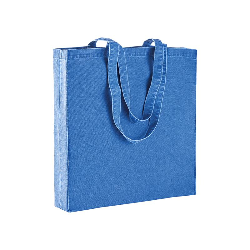 shopper in stonewashed blu royal con soffietti e manici cotone